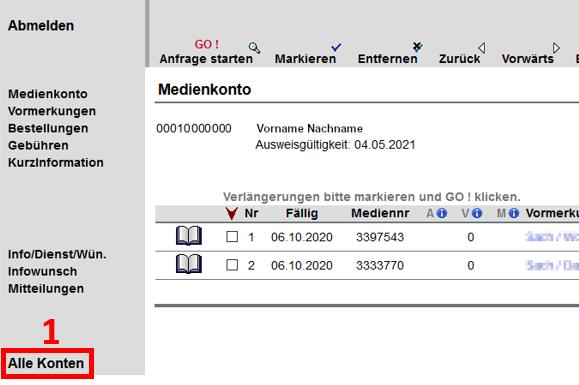 Screenshot vom Bibliothekskonto, rot umrandet ist der letzte Navigationspunkt: Alle Konten