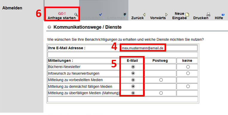 Screenshot vom Bibliothekskonto, rot umrandet ist das Feld mit der E-Mail Adresse, die ausgefüllten Punkte unter E-Mail und der Button Go: Anfrage starten