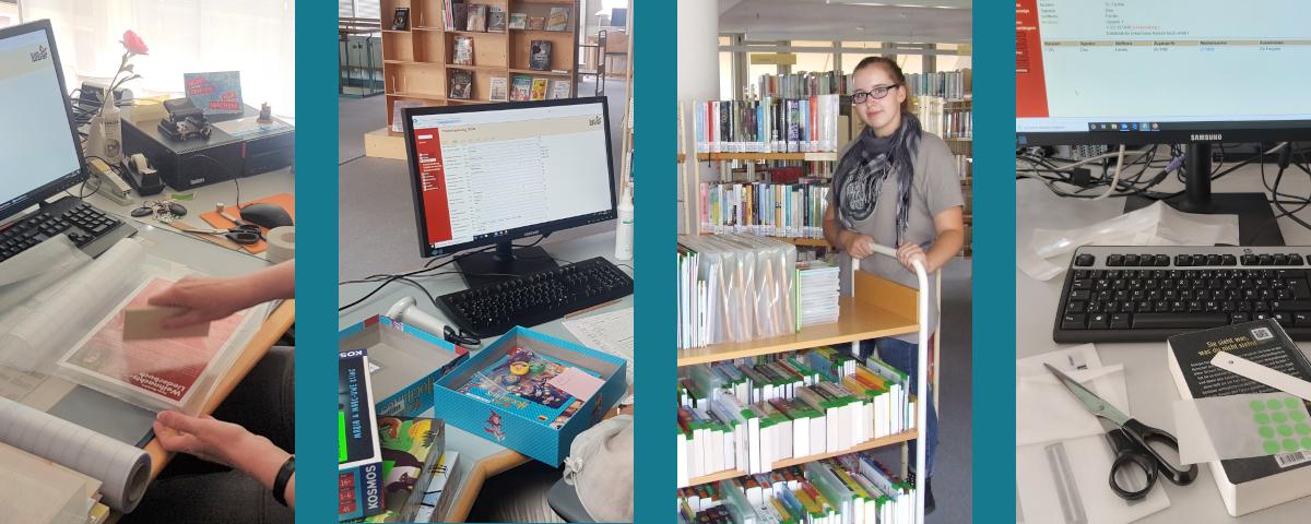 Collage mit verschiedenen Ausbildungssituationen: Buchbearbeitung, Spielekatalogisierung, Bücher einstellen