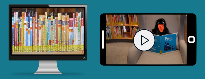 Bildschirm mit Bilderbuchregal und Smartphone mit vorlesenden Raabe