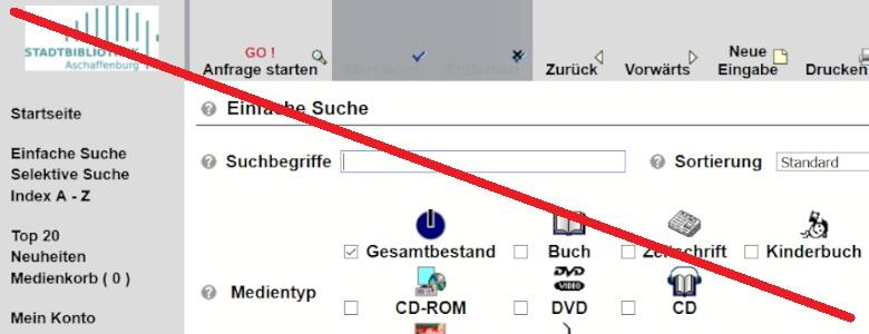 Durchgestrichener Screenshot vom Online-Katalog