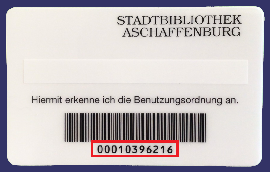 Rückseite des Benuzterausweises der Stadtbibliothek mit Barcode und rot markierter Benutzerausweisnummer