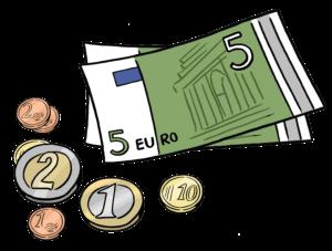 Zwei 5-Euro-Scheine und Euromünzen